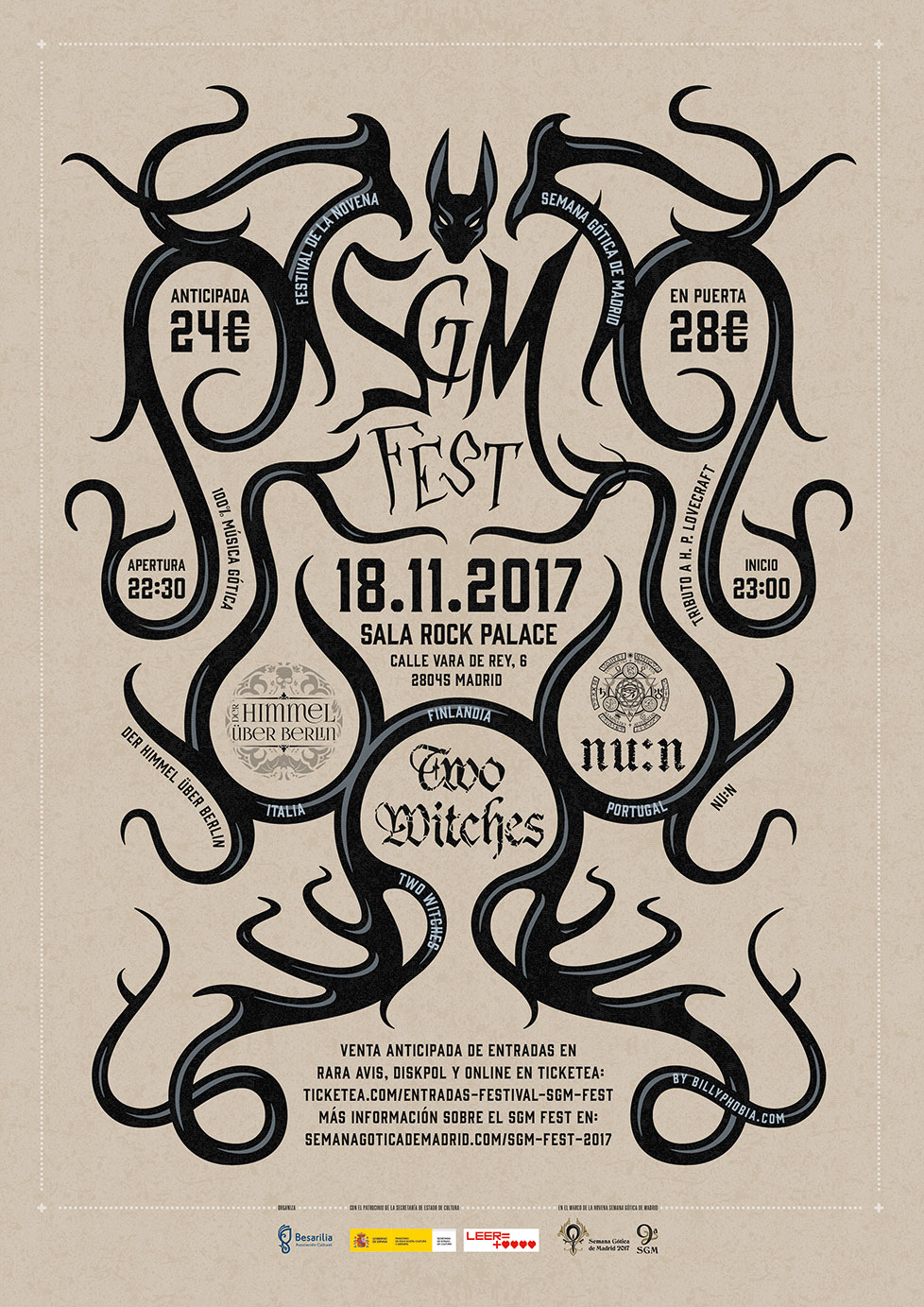 Semana Gótica de Madrid Festival (SGM FEST) 2017 Poster - Design & illustration by Billyphobia.com © 2017