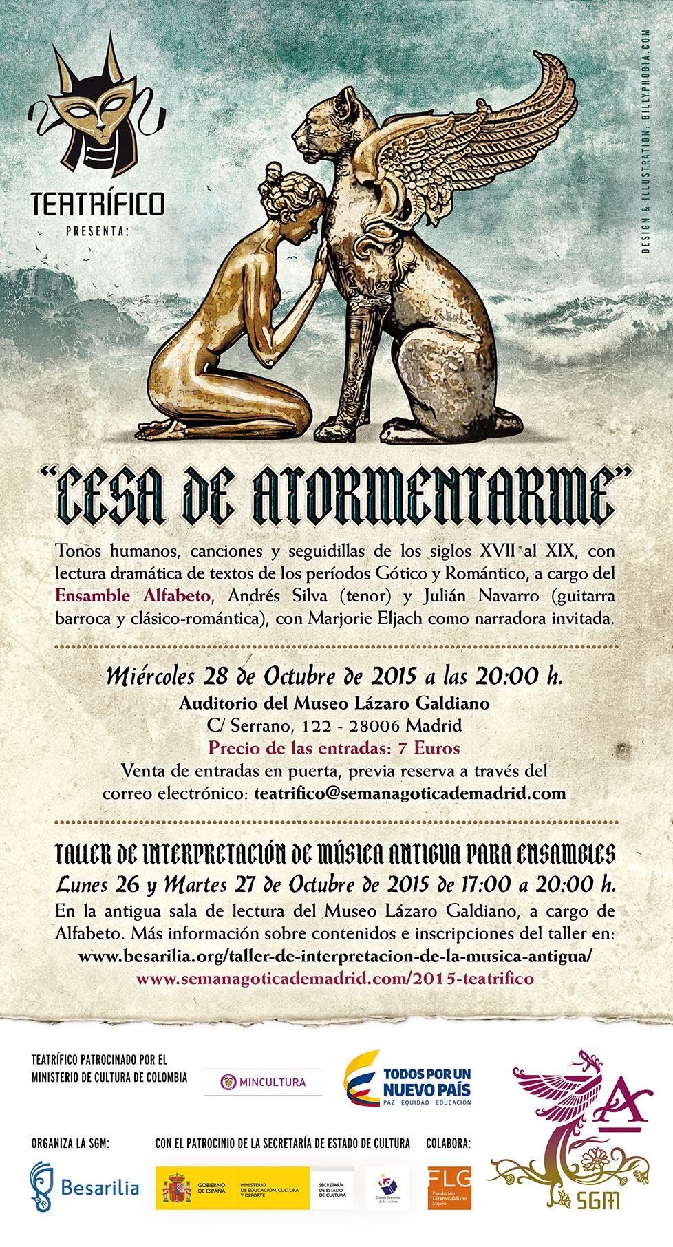 Cartel de la séptima edición de Teatrífico de la Semana Gótica de Madrid diseñado por Billyphobia