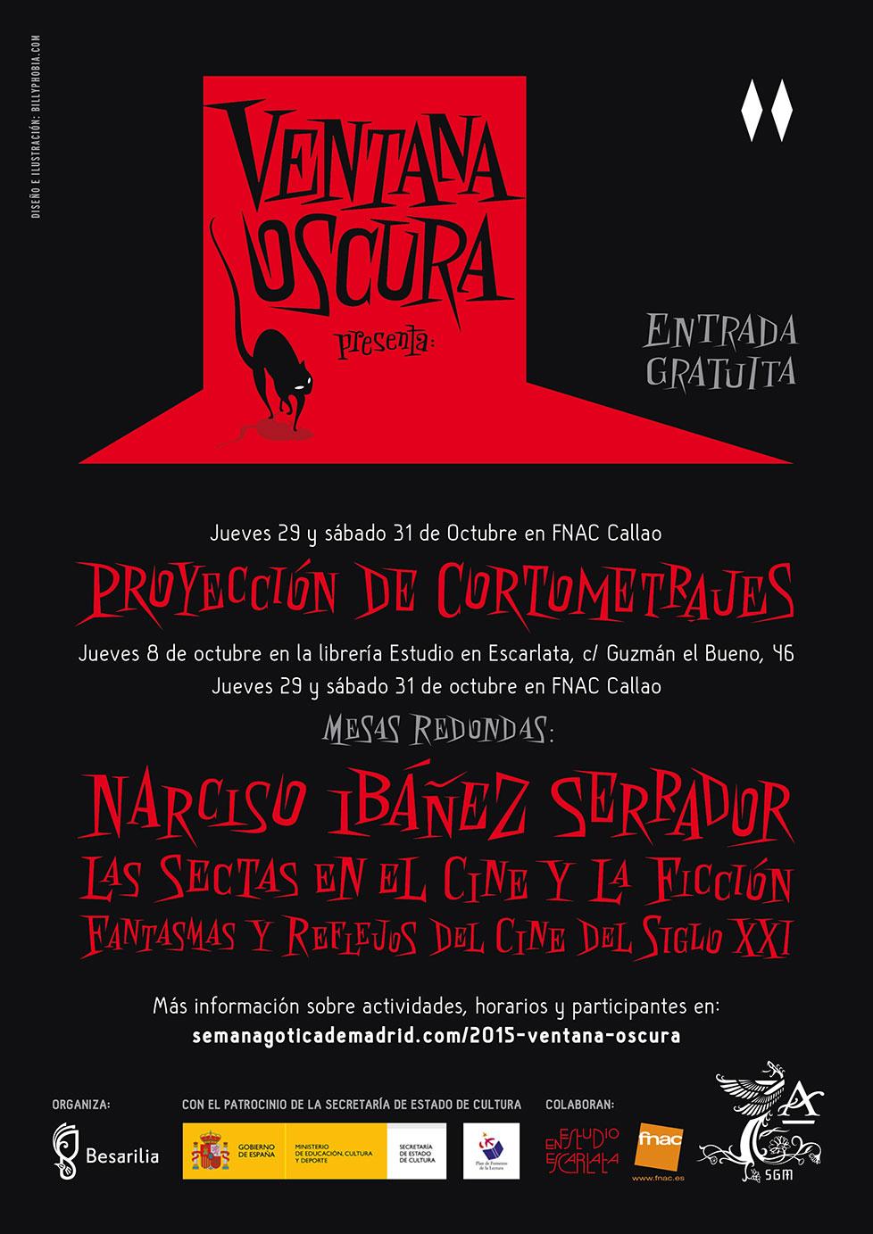 Cartel de la séptima edición de Ventana Oscura de la Semana Gótica de Madrid diseñado por Billyphobia
